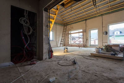 this picture shows electrical remodel in Tallahassee. The electrician is replacing the old wiring with new upgraded wiring.
